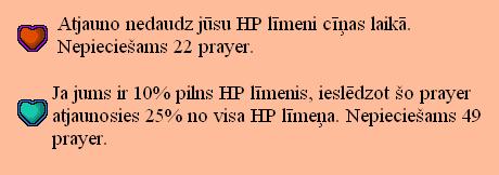 Runescape prayer jeb lūgšanas, kas saistītas ar HP